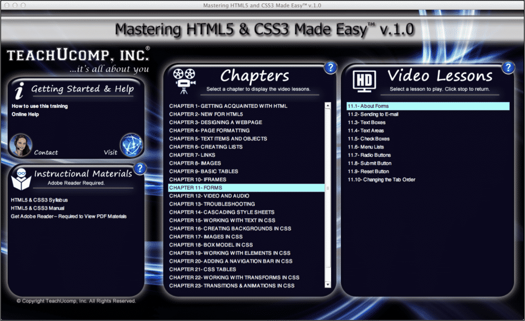 """A picture of the """"Mastering HTML5 and CSS3 Made Easy v.1.0"""" interface, showing the lesson on HTML5 forms titled """"11.1- About Forms."""""""
