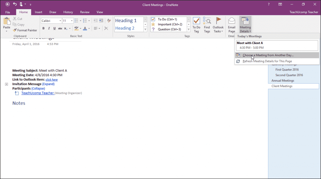 Insert Outlook Meetings in OneNote: A picture showing the meeting details button in the Ribbon in OneNote 2016 and inserted meeting details within a page.