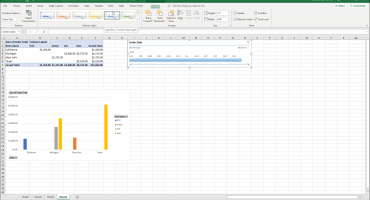 Timeline Options in Excel - Instructions: A picture of a user modifying the appearance of a timeline in Excel.