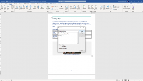 "Add Bookmarks in Word - Instructions: A picture of a user inserting a bookmark into a Word document by using the ""Bookmark"" dialog box."