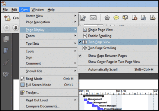 """Change the View of a PDF in Acrobat XI Pro: A picture of the """"Page Display"""" menu within the """"View"""" menu in the Menu Bar of Acrobat XI Pro."""