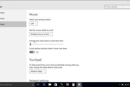 Mouse and Touchpad Settings in Windows 10 - Tutorial: A picture of the mouse and touchpad settings in Windows 10.