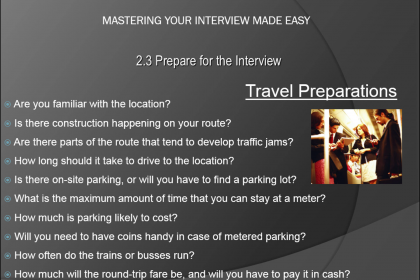 Prepare for an Interview- Tutorial: A picture of the list of travel-related questions you should consider before an interview.