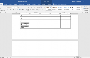 View Formulas in a Table in Word - Tutorial: A picture of a formula in a table cell shown within Word 2016.