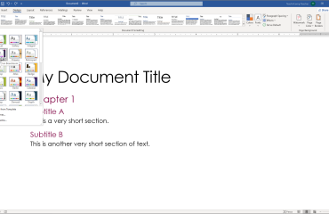 Apply a Theme in Word- Instructions and Video Lesson: A picture of a user applying a theme to a document in Word.