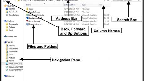 File Explorer in Windows 8.1- Tutorial and Instructions: A picture of the File Explorer in Windows 8.1.