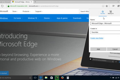 Add a Favorite to Microsoft Edge- Tutorial: A picture of a user adding a favorite web page to Microsoft Edge in Windows 10.