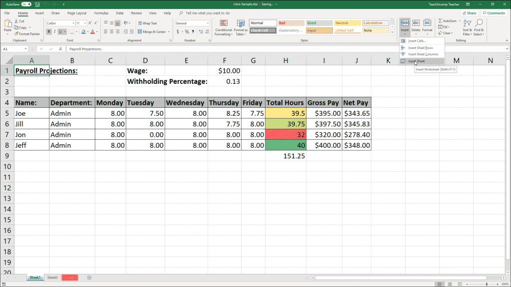 Inserting and Deleting Worksheets in Excel- Instructions
