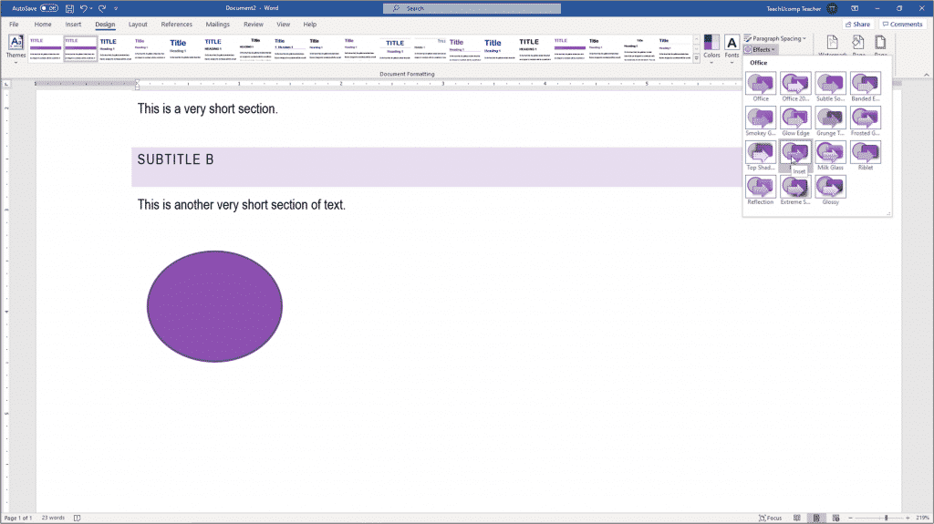 Apply Theme Effects in Word - Instructions: A picture of a user applying different theme effects in Word to a document.