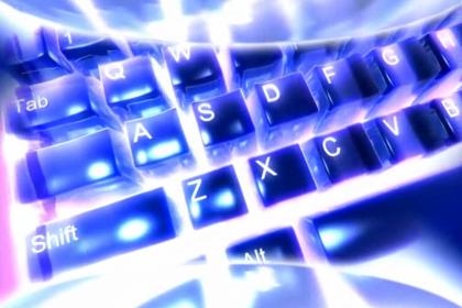 Keyboard Shortcuts from Windows to Macs: A picture of a glowing keyboard.