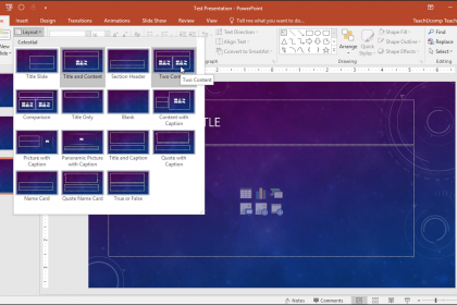 "Slide Layouts in PowerPoint- Tutorial: A picture of a user changing slide layouts in PowerPoint 2016 by using the ""Slide Layout"" button in the ""Slides"" button group on the ""Home"" tab in the Ribbon."