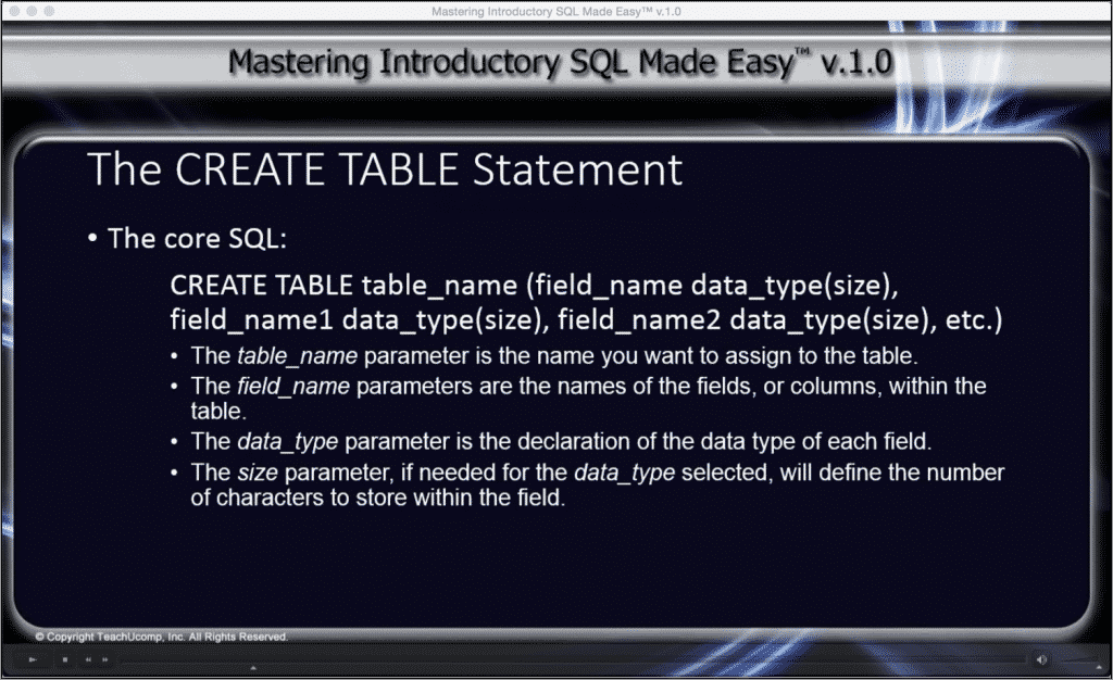 """The CREATE TABLE Statement in SQL- Tutorial: A picture of the """"Mastering Introductory SQL Made Easy v.1.0"""" interface."""