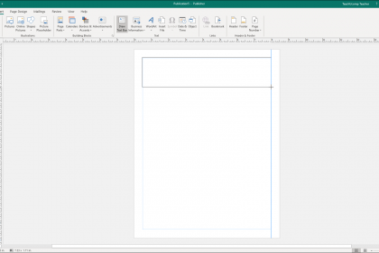 Insert a Text Box in Publisher- Instructions: A picture of a user inserting a text box in Publisher.