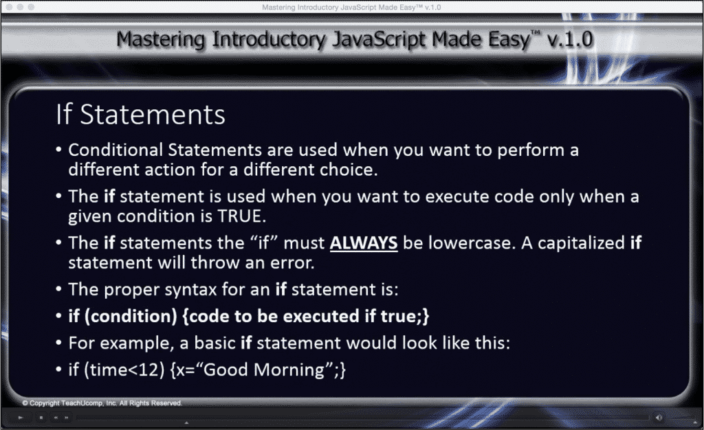 "If Statement in JavaScript- A Tutorial: A picture of the ""Mastering Introductory JavaScript Made Easy v.1.0"" training interface showing lesson ""9.1- If Statements."""