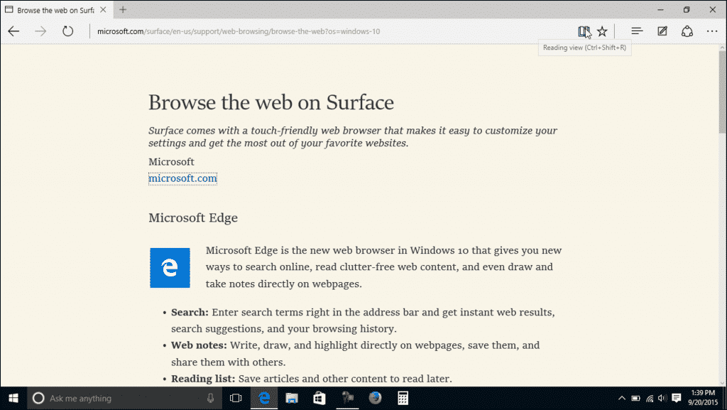 Reading View in Microsoft Edge- Tutorial: A picture of a web page shown in Reading View within Microsoft Edge.