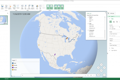 Create a 3D Map in Excel - Instructions: A picture of a user creating a new 3D Maps tour in Excel.