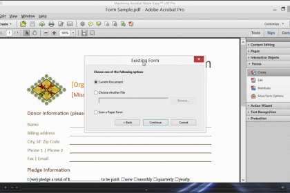 create a form from an existing document in acrobat xi