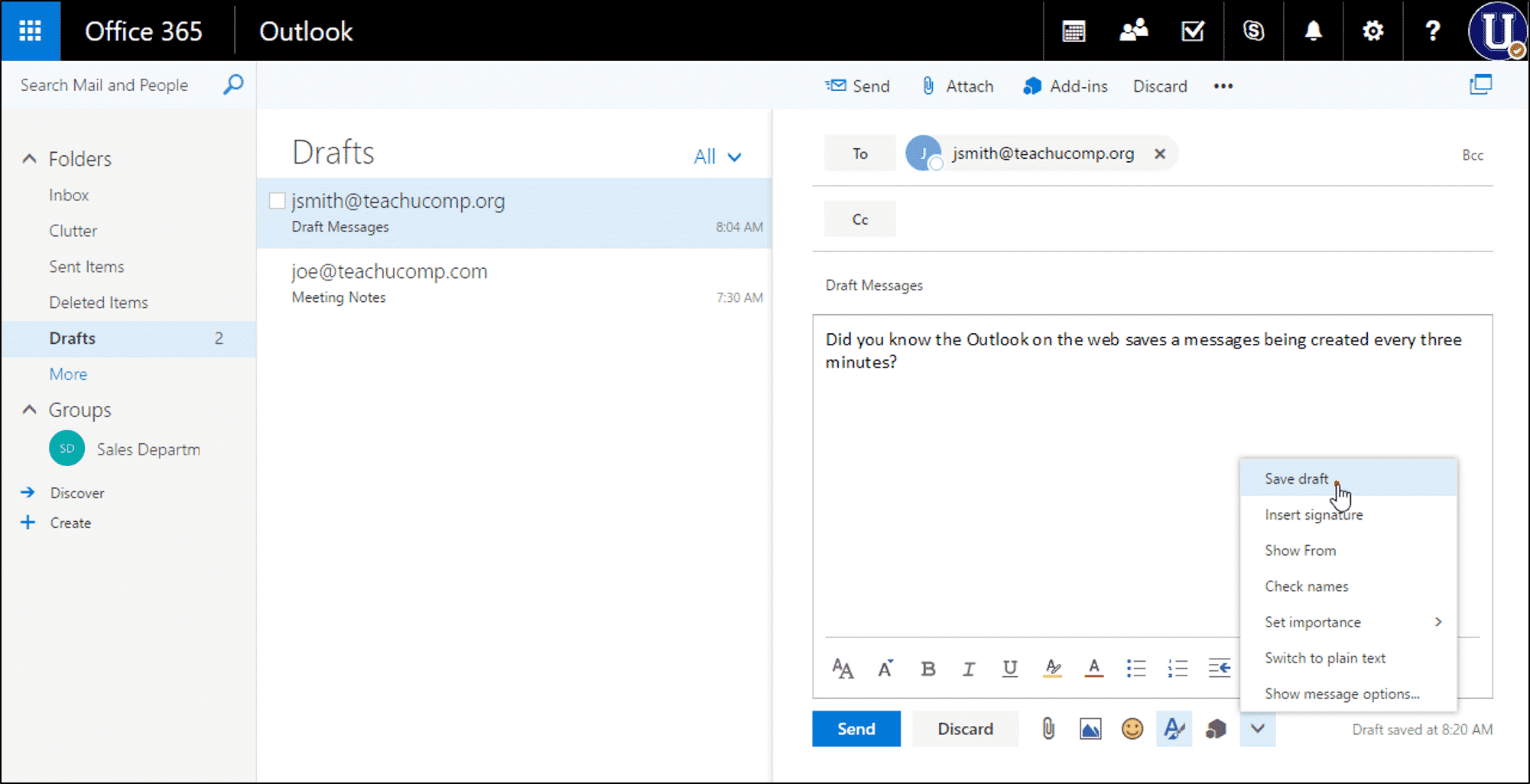 Save a Draft Message in Outlook on the Web - Instructions