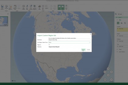 "Custom Regions in 3D Maps in Excel - Instructions: A picture of the ""Import Custom Region Set"" dialog box in the 3D Maps window in Excel."