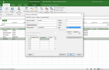 "Create Cost Resources in Project- Instructions: A picture of a cost resource shown within the ""Resource Information"" dialog box in Microsoft Project."