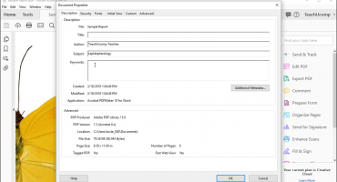 """Add Metadata to a PDF in Acrobat - Instructions: A picture of the """"Description"""" tab in the """"Document Properties"""" dialog box in Acrobat Pro DC."""