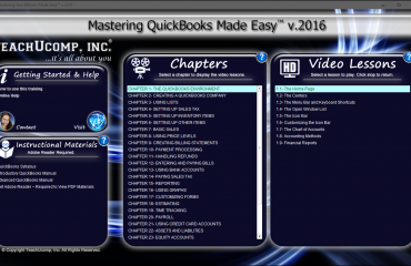 Buy QuickBooks Pro 2016 Training: A picture of the training interface for the digital download or DVD versions of Mastering QuickBooks Made Easy v.2016.