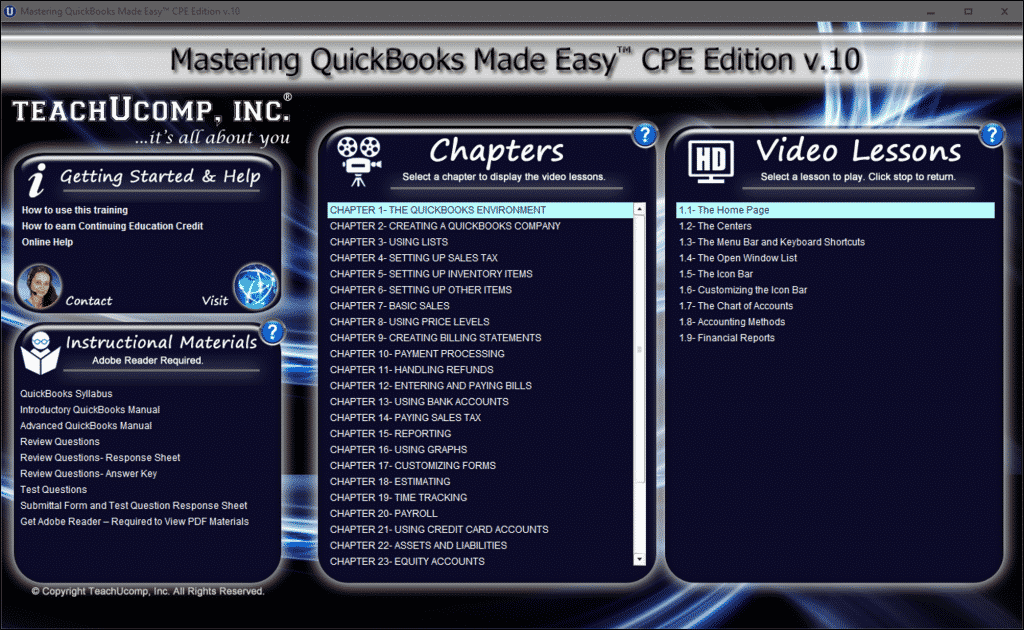 Buy QuickBooks Pro 2016 Training: A picture of the training interface for the digital download or DVD versions of Mastering QuickBooks Made Easy CPE Edition v.10.