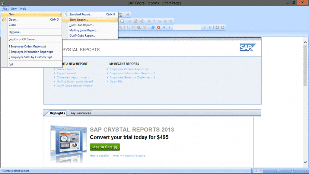 Create a New Blank Report in Crystal Reports 2013: A picture of the report creation options in Crystal Reports 2013.