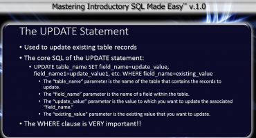 The UPDATE Statement in SQL- Tutorial: A picture of the core SQL of the UPDATE statement in SQL.