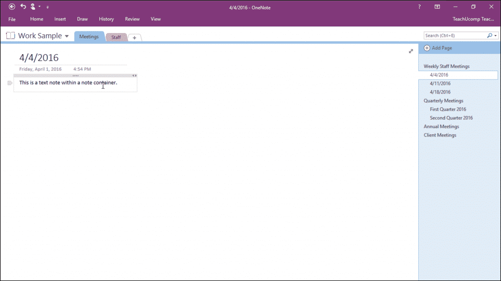 Create a Note in OneNote - Tutorial: A picture of a user hovering over a note in a notebook page within OneNote 2016.