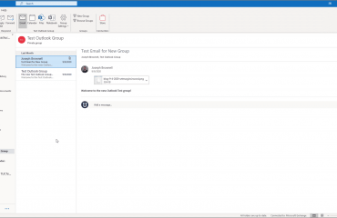Open a Group in Outlook - Instructions: A picture of a user opening a group in Outlook.