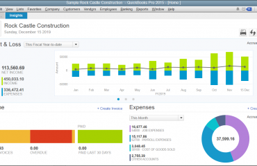 "What's New in QuickBooks Pro 2015: The ""Insights"" Tab in the ""Home"" Window. A picture of the"