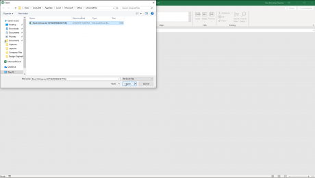 Recover Unsaved Workbooks in Excel - Instructions: A picture of an unsaved workbook recovered by Microsoft Excel.
