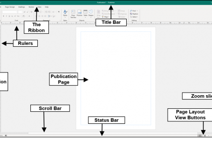 The Publisher User Interface - Instructions: A picture of the major objects and tools within the Publisher user interface.