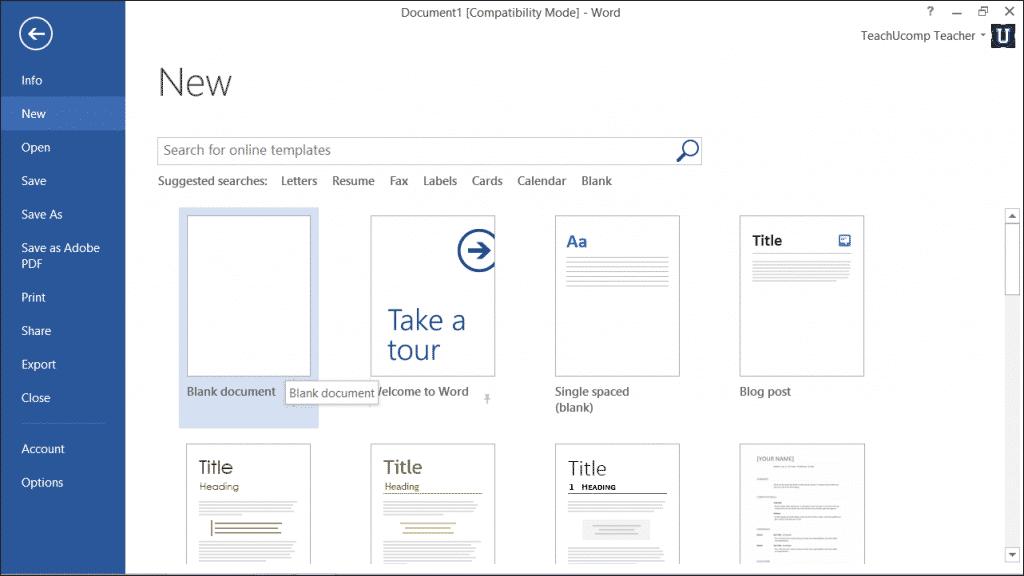 """Word File Tab """"file"""" Tab of Word 2013"""