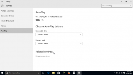 AutoPlay Settings in Windows 10 - Tutorial: A picture of the AutoPlay settings in Windows 10.