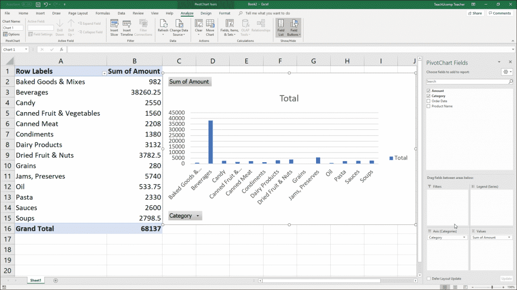 """Create a PivotChart in Excel: A picture of a user adding fields to the """"PivotChart Fields"""" task pane in Excel."""