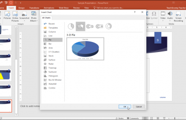 Insert a Chart in PowerPoint - Tutorial: A picture of a user inserting a chart in PowerPoint 2016.