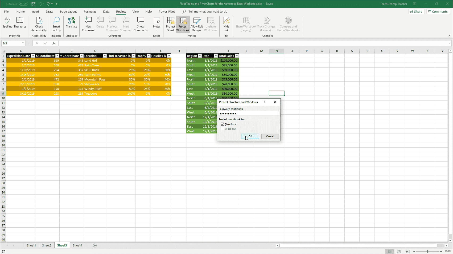 workbook protection in excel- instructions