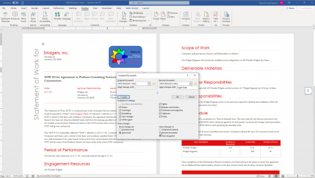 "Compare Documents in Word- Instructions: A picture of a user comparing two documents in Word within the ""Compare Documents"" dialog box."