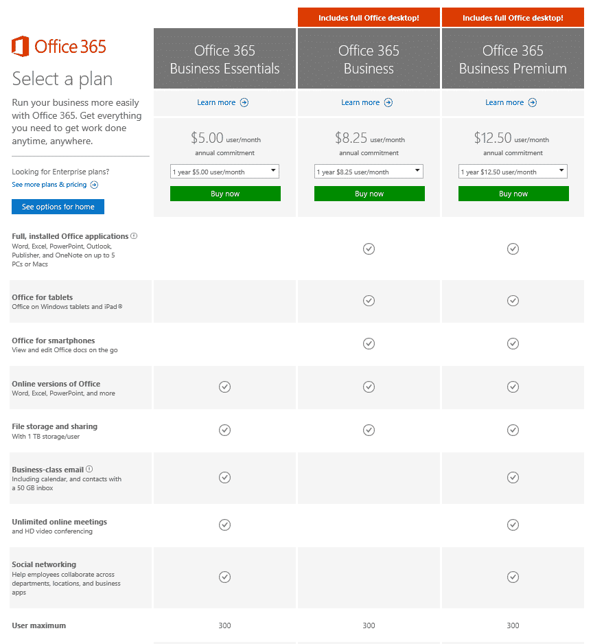 New Office 365 For Business Subscription Plans