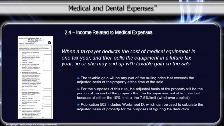 Tax Treatment of Income Related to Medical Expenses: A picture showing part of Worksheet D.