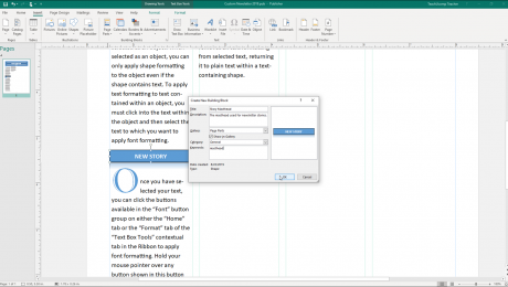 "Create Building Blocks in Publisher - Instructions: A picture of the ""Create New Building Block"" dialog box in Microsoft Publisher."