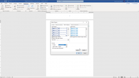 Insert a Table of Figures in Word - Instructions: A picture of a user inserting a table of figures in Word.