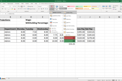 """Conditional Formatting in Excel - Instructions: A picture of a user selecting a custom conditional formatting choice from the """"Conditional Formatting"""" button's drop-down menu."""