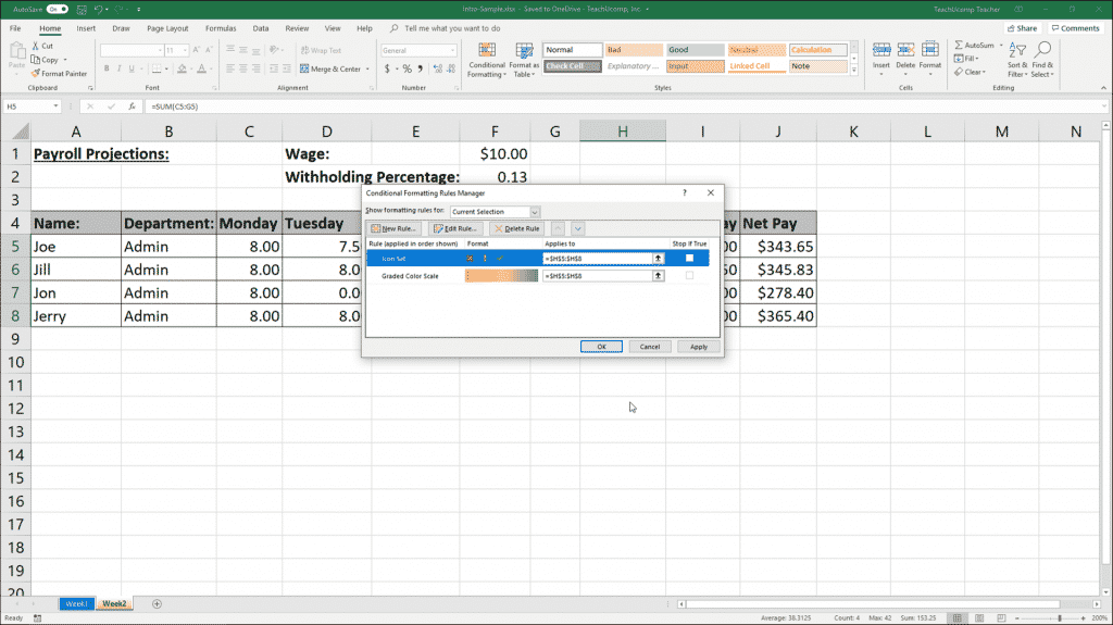 """Conditional Formatting in Excel - Instructions: A picture of multiple conditional formatting rules shown within the """"Conditional Formatting Rules Manager"""" dialog box."""