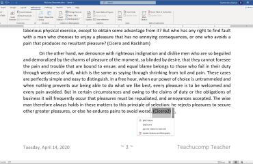 Add a Citation Placeholder in Word - Instructions: A picture of a citation placeholder in Word.