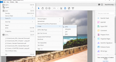 Save a PDF as an Image in Acrobat- Instructions: A picture of the Menu Bar command sequence to select in Adobe Acrobat DC Pro to save a PDF as an image or as a series of images.