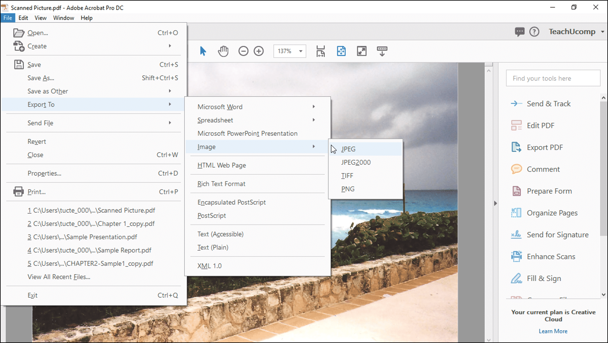 Save a PDF as an Image in Acrobat- Instructions - TeachUcomp, Inc