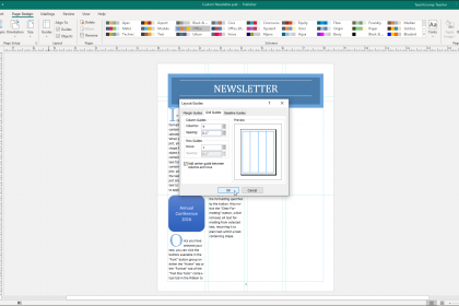 "Make Columns in Publisher - Instructions: A picture of the ""Grid Guides"" tab in the ""Layout Guides"" dialog box in Publisher."